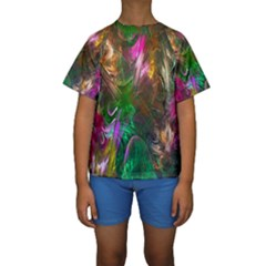 Fractal Texture Abstract Messy Light Color Swirl Bright Kids  Short Sleeve Swimwear