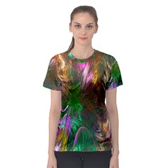 Fractal Texture Abstract Messy Light Color Swirl Bright Women s Sport Mesh Tee