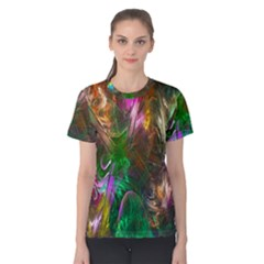 Fractal Texture Abstract Messy Light Color Swirl Bright Women s Cotton Tee