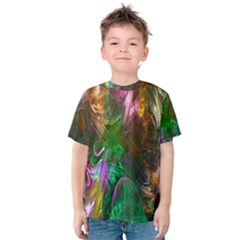 Fractal Texture Abstract Messy Light Color Swirl Bright Kids  Cotton Tee