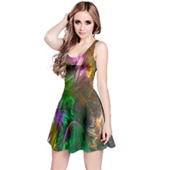 Fractal Texture Abstract Messy Light Color Swirl Bright Reversible Sleeveless Dress