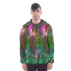 Fractal Texture Abstract Messy Light Color Swirl Bright Hooded Wind Breaker (men)