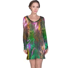 Fractal Texture Abstract Messy Light Color Swirl Bright Long Sleeve Nightdress