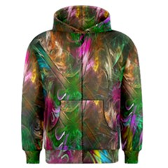 Fractal Texture Abstract Messy Light Color Swirl Bright Men s Zipper Hoodie