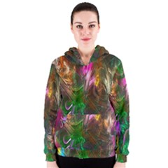 Fractal Texture Abstract Messy Light Color Swirl Bright Women s Zipper Hoodie