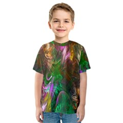 Fractal Texture Abstract Messy Light Color Swirl Bright Kids  Sport Mesh Tee