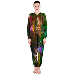 Fractal Texture Abstract Messy Light Color Swirl Bright OnePiece Jumpsuit (Ladies)