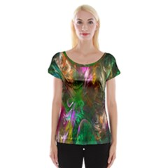 Fractal Texture Abstract Messy Light Color Swirl Bright Women s Cap Sleeve Top