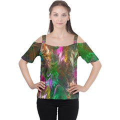Fractal Texture Abstract Messy Light Color Swirl Bright Women s Cutout Shoulder Tee