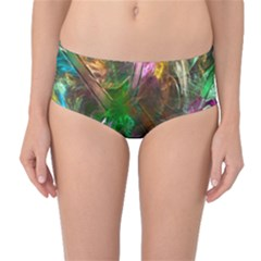 Fractal Texture Abstract Messy Light Color Swirl Bright Mid-Waist Bikini Bottoms