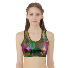 Fractal Texture Abstract Messy Light Color Swirl Bright Sports Bra with Border