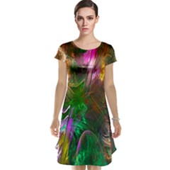 Fractal Texture Abstract Messy Light Color Swirl Bright Cap Sleeve Nightdress