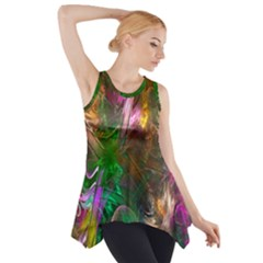 Fractal Texture Abstract Messy Light Color Swirl Bright Side Drop Tank Tunic