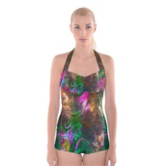 Fractal Texture Abstract Messy Light Color Swirl Bright Boyleg Halter Swimsuit