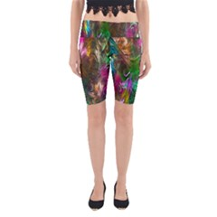 Fractal Texture Abstract Messy Light Color Swirl Bright Yoga Cropped Leggings