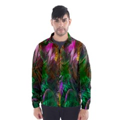 Fractal Texture Abstract Messy Light Color Swirl Bright Wind Breaker (men)
