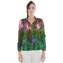 Fractal Texture Abstract Messy Light Color Swirl Bright Wind Breaker (Women)
