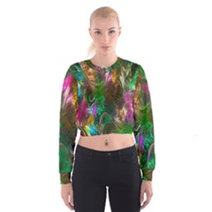 Fractal Texture Abstract Messy Light Color Swirl Bright Women s Cropped Sweatshirt