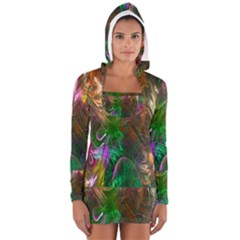 Fractal Texture Abstract Messy Light Color Swirl Bright Women s Long Sleeve Hooded T-shirt