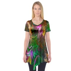 Fractal Texture Abstract Messy Light Color Swirl Bright Short Sleeve Tunic