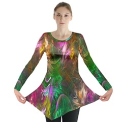 Fractal Texture Abstract Messy Light Color Swirl Bright Long Sleeve Tunic
