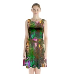 Fractal Texture Abstract Messy Light Color Swirl Bright Sleeveless Chiffon Waist Tie Dress