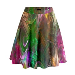 Fractal Texture Abstract Messy Light Color Swirl Bright High Waist Skirt
