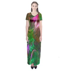 Fractal Texture Abstract Messy Light Color Swirl Bright Short Sleeve Maxi Dress