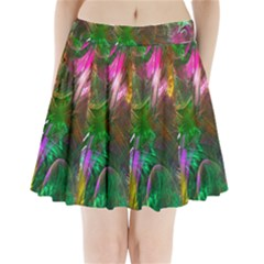 Fractal Texture Abstract Messy Light Color Swirl Bright Pleated Mini Skirt