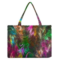 Fractal Texture Abstract Messy Light Color Swirl Bright Medium Zipper Tote Bag
