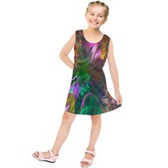 Fractal Texture Abstract Messy Light Color Swirl Bright Kids  Tunic Dress