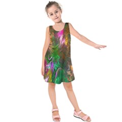 Fractal Texture Abstract Messy Light Color Swirl Bright Kids  Sleeveless Dress