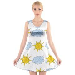 Sunshine Tech White V-Neck Sleeveless Skater Dress