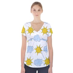 Sunshine Tech White Short Sleeve Front Detail Top
