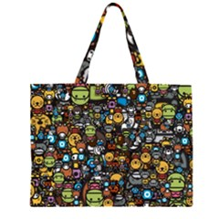 Many Funny Animals Zipper Large Tote Bag