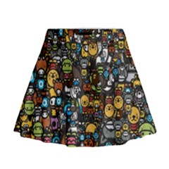 Many Funny Animals Mini Flare Skirt