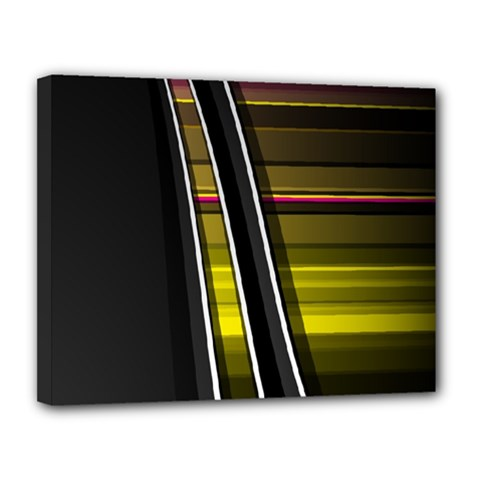 Abstract Multicolor Vectors Flow Lines Graphics Canvas 14  x 11