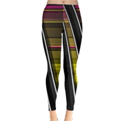 Abstract Multicolor Vectors Flow Lines Graphics Leggings
