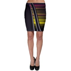 Abstract Multicolor Vectors Flow Lines Graphics Bodycon Skirt