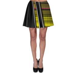 Abstract Multicolor Vectors Flow Lines Graphics Skater Skirt