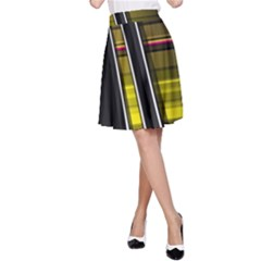 Abstract Multicolor Vectors Flow Lines Graphics A-Line Skirt