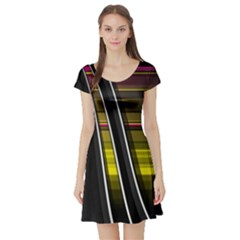 Abstract Multicolor Vectors Flow Lines Graphics Short Sleeve Skater Dress
