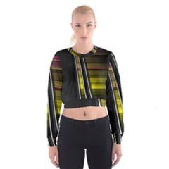 Abstract Multicolor Vectors Flow Lines Graphics Women s Cropped Sweatshirt