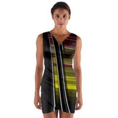 Abstract Multicolor Vectors Flow Lines Graphics Wrap Front Bodycon Dress