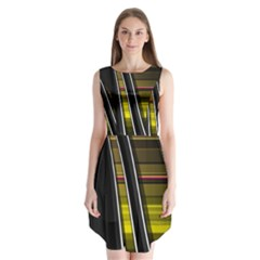 Abstract Multicolor Vectors Flow Lines Graphics Sleeveless Chiffon Dress