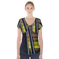 Abstract Multicolor Vectors Flow Lines Graphics Short Sleeve Front Detail Top