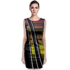 Abstract Multicolor Vectors Flow Lines Graphics Sleeveless Velvet Midi Dress