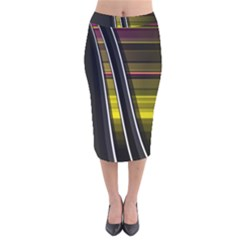 Abstract Multicolor Vectors Flow Lines Graphics Velvet Midi Pencil Skirt