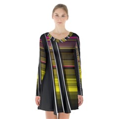 Abstract Multicolor Vectors Flow Lines Graphics Long Sleeve Velvet V Neck Dress