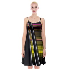 Abstract Multicolor Vectors Flow Lines Graphics Spaghetti Strap Velvet Dress